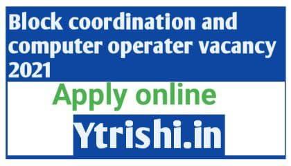 District Block Level Coordinator And Computer Operator Vacancy 2021